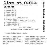Paul Bailey Ensemble | Live From Occca